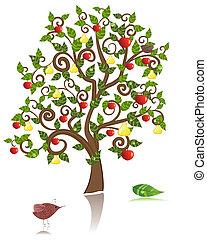 ornamental, æble pear, træ
