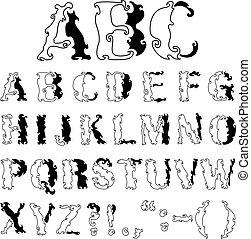 ornamental, alfabet
