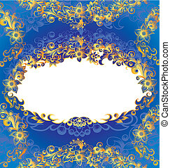 ornamental, blå, ramme, blomstrede