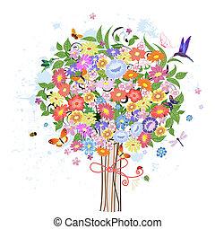 ornamental, blomst, træ, fugle