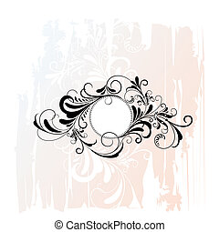 ornamental, blomstrede, cirkel, ornamentere