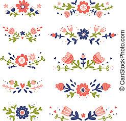 ornamental, blomstrede, compositions, samling