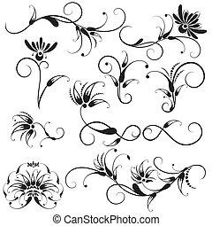 ornamental, blomstrede elementer, konstruktion