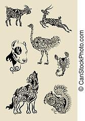 ornamental, blomstrede, ornamentere, dyr
