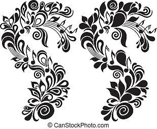 ornamental, blomstrede, tema, musikalsk begavet