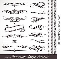 ornamental, decor, elementer, og, vektor, konstruktion, side