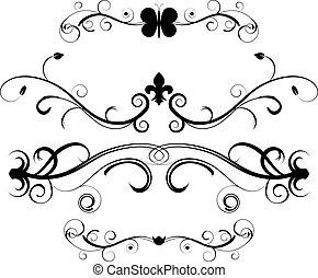 ornamental, dividers, sæt, side