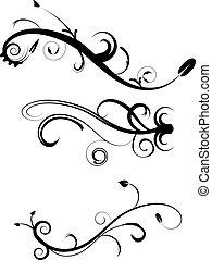 ornamental, flourishes, 2, sæt