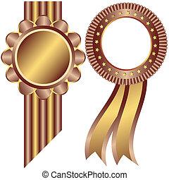 ornamental, gylden, kaffe, rammer, (vector)