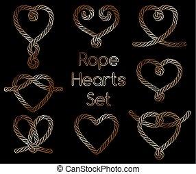 ornamental, gylden, sæt, reb, hjerter, knuder
