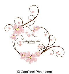 ornamental, hjerte, tekst, ramme, sted, din