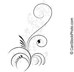 ornamental, illustration, blomstrede, flourishes, swirling, vektor, element
