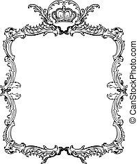 ornamental, illustration., vinhøst, vektor, udsmykket, frame.