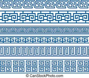 ornamental, klassisk, grænse, element