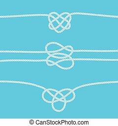 ornamental, knuder, kanter, sæt, reb