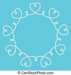 ornamental, knuder, lavede, ramme, reb, hjerter