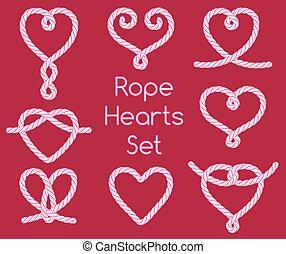 ornamental, knuder, sæt, reb, hjerter