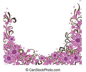 ornamental, lyserød, grænse, blomstrede