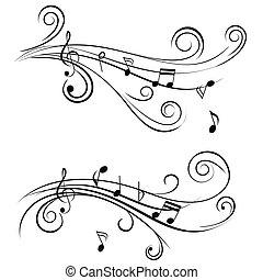 ornamental, notere, musik