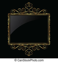 ornamental, ramme, sort, guld
