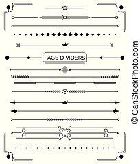 ornamental, sæt, elements., dividers, konstruktion, retro, side