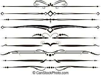 ornamental, sæt, vectorized, dividers, linjer, regel