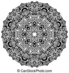 ornamental, snørebånd, ornamentere, mønster, cirkel, sort, samling, geometriske, doily, hvid, omkring
