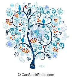ornamental, træ vinter