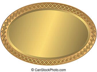 oval, gylden, metal, bronce, beklæde
