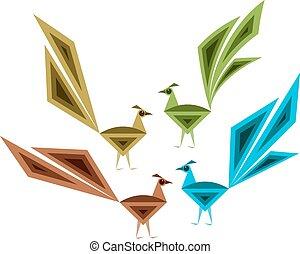 påfugl, hånd, kunstneriske, stram