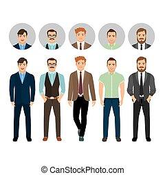 påklædt, firmanavnet, mænd, firma, pæn