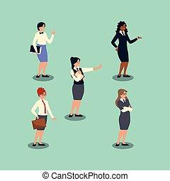 påklædt, folk, kvinder, tøjsæt, gruppe, branche hold