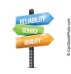 pålidelighed, kvalitet, illustration, tjeneste, tegn