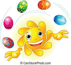 påske, jongler, sol, cute