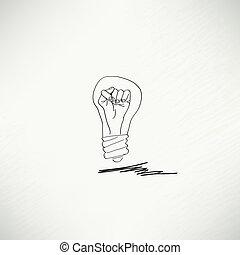 pære, begreb, ide, ikon
