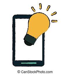 pære, skitse, smartphone, ide, fantasi
