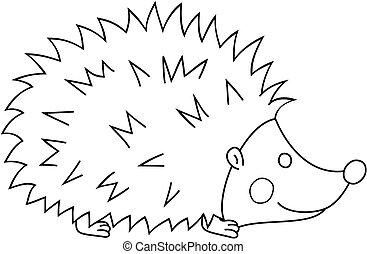 page., coloring, udkast, vektor, bog, hedgehog, cartoon, illustration.