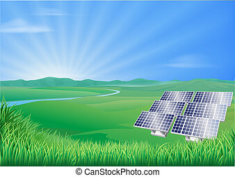 panel, landskab, illustration, sol