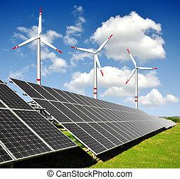paneler, energi, turbiner, sol, vind