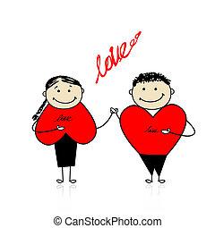 par, sammen, valentine, day., konstruktion, din