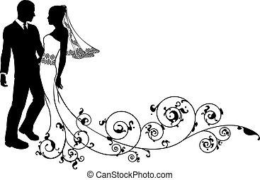 par, soignere, bryllup, brud, silhuet