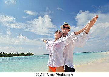 par, unge, hav morskab, strand, glade