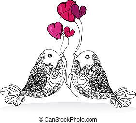 par, valentine, constitutions, isoleret, fugl