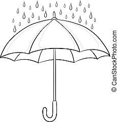 paraply, konturer, regn