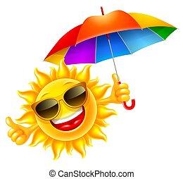 paraply, muntre, multicolored, rummer, sol