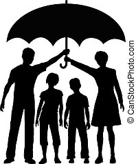paraply, risiko, familie, forældre, holde, garanti, forsikring