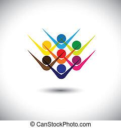 partying, begreb, forestiller, abstrakt, og, folk, også, ophids, dåse, farverig, spille, illustration, grafik, children., oprømt, børn, stab, denne, ansatter, osv., vektor, kammerater, glade, eller