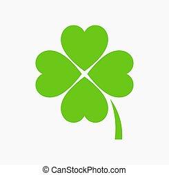 patrick, fire, icon., dag, kløver, grønne, st., blad