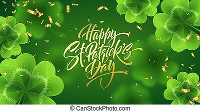 patricks, glade, lavede, glitter., tekstning, realistiske, illustration, helgen, gylden, glitre, blade, kløver, grøn baggrund, dag, håndskrift, vektor