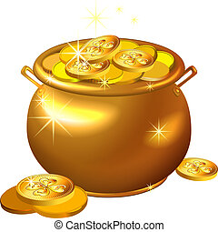 patrick`s, guld, pot, mønter, st.., vektor, dag